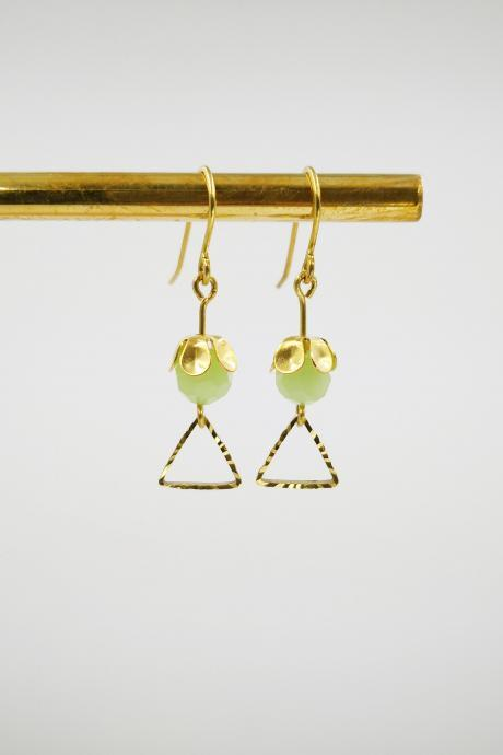 Gold Earrings Dangle Green Earrings Beaded Women Jewelry Geometric Triangle Earrings Personalized Earrings For Women Gift Simple Earrings