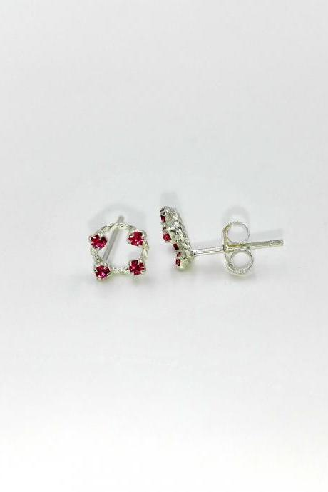 Silver Earrings Diamond, Ruby Earrings, Crystal Earrings, Gemstone Earrings, Round Earrings, Tiny Earrings, Everyday Earrings
