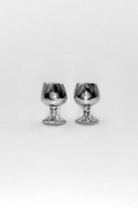 Silver Earrings, Goblet Earrings, Cup Earrings, Glass Earrings, Beverage Earrings, Free Shipping, Jewelry, Tiny Earrings, Gift