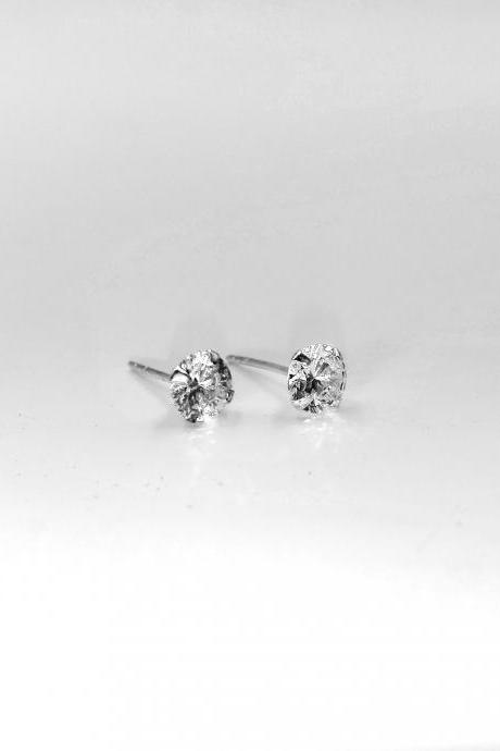 Silver Earrings Stud, Diamond Earrings, Round Earrings, Crystal Earrings, Dainty Earrings, Gift, Sparkly Earrings, Jewelry