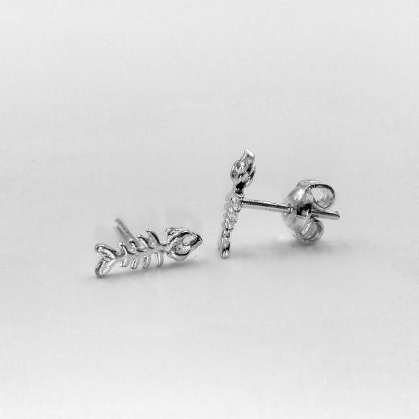 Sterling Silver FishBone Earrings Stud Earrings Women Silver Jewelry Gift For Her Silver Earrings For Women Gift Tiny Fish Earrings